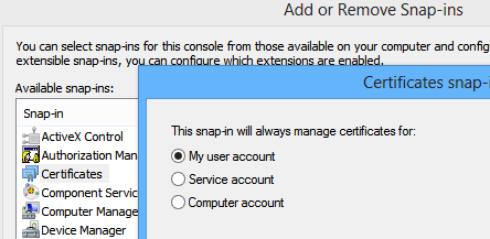 Adding the certificates snap-in