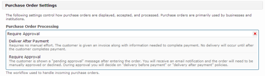 Purchase order delivery options in FastSpring