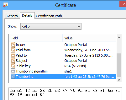 The certificate thumbprint