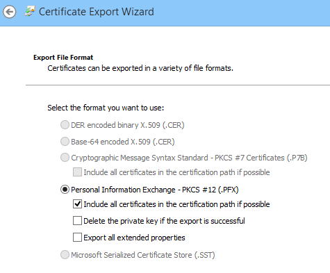 Export options for the PFX file